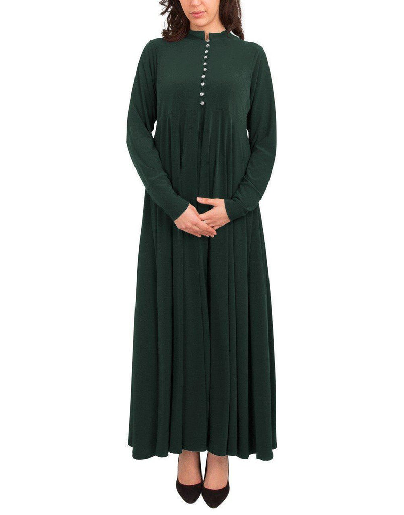 Princess Rhinestone Abaya - Forest Green SALE-Dress-Niswa Fashion