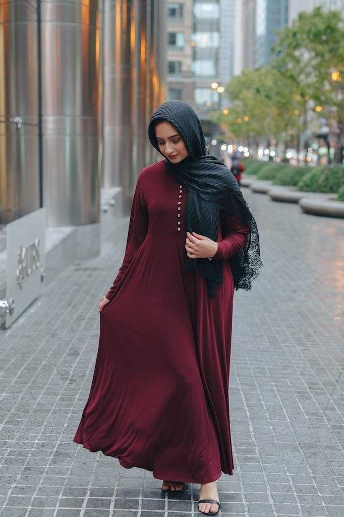 Princess Rhinestone Abaya - Maroon-Niswa Fashion