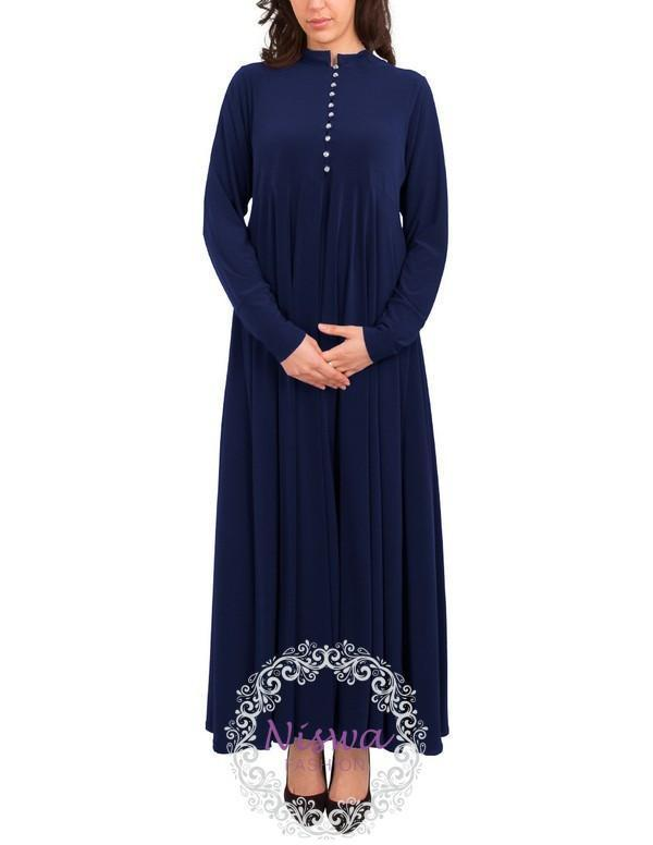 Princess Rhinestone Abaya - Navy-Niswa Fashion