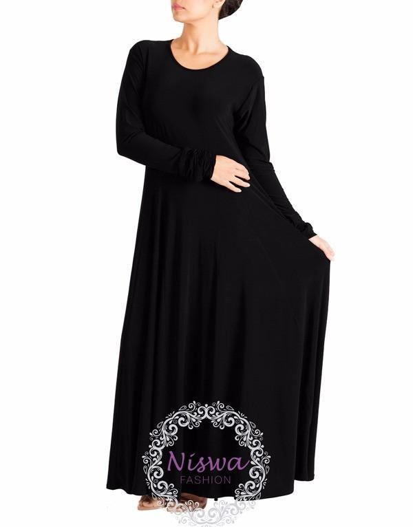 Princess Umbrella Abaya - Black-Niswa Fashion