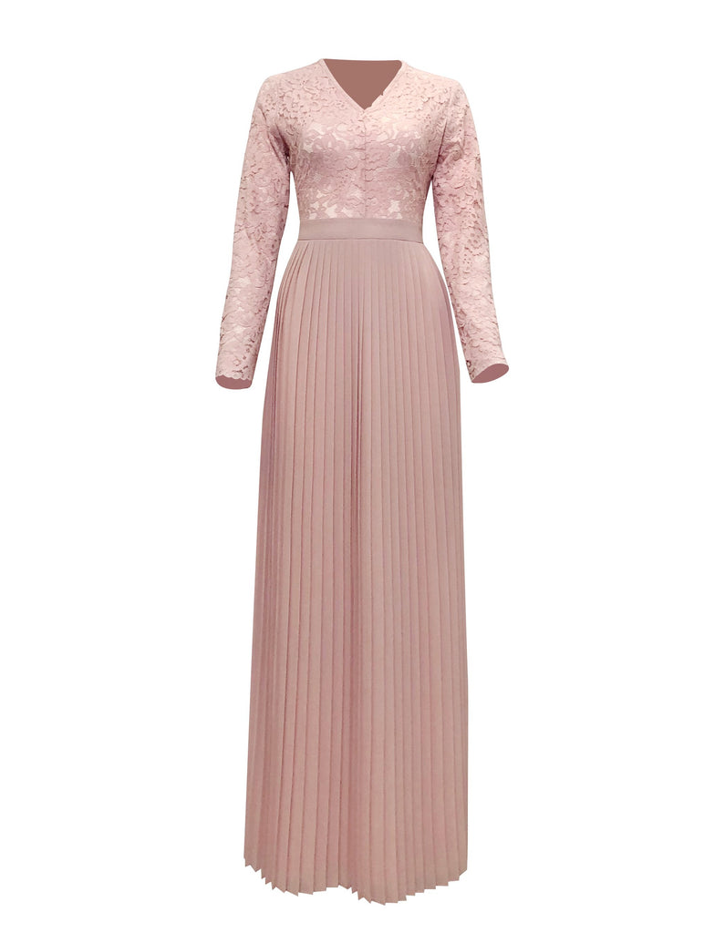 Raina Lace Top Pleated Maxi - Pink Hibiscus-Niswa Fashion