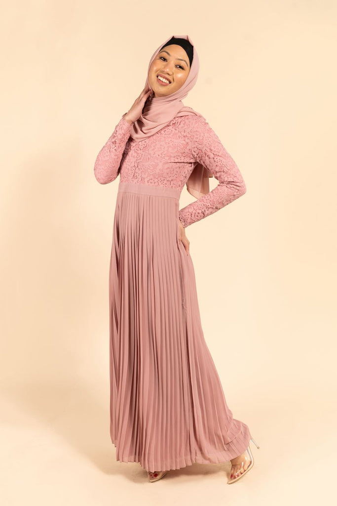 Raina Lace Top Pleated Maxi - Rose Pink-Niswa Fashion