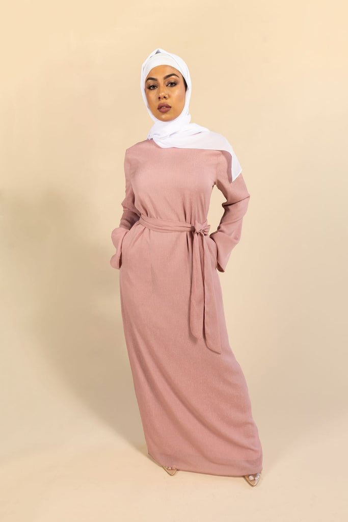 Raven Maxi Dress - Shimmery Blush-Niswa Fashion