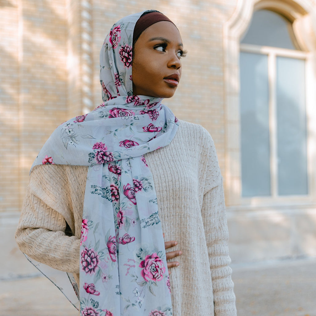 ROSE ESSENCE Chiffon Print-AllScarves-Niswa Fashion