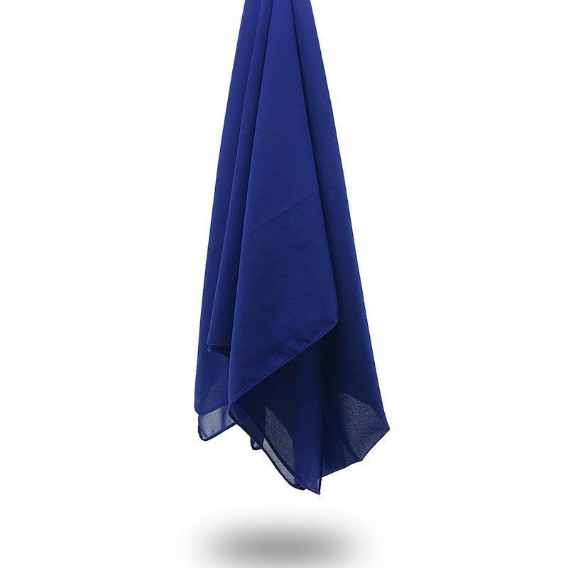 ROYAL BLUE Georgette Chiffon Scarf-AllScarves-Niswa Fashion