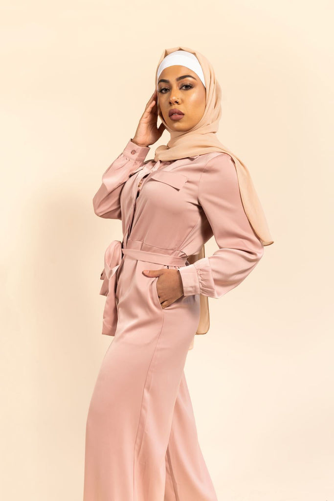 Saiyra Satin Jumpsuit - Dusty Rose-Niswa Fashion