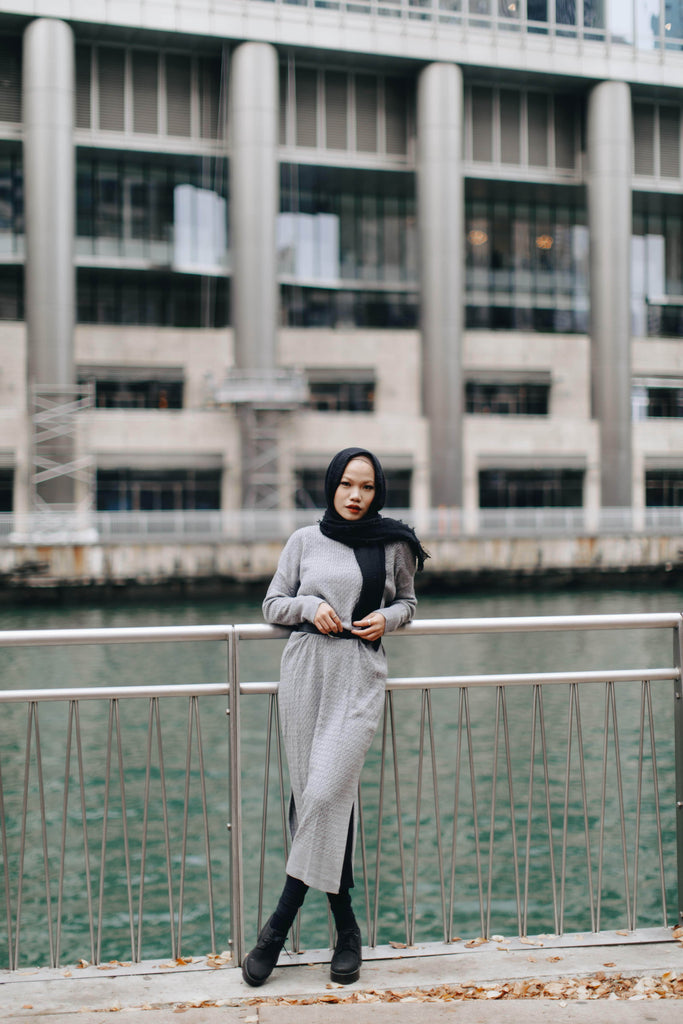 Serenity Knit Dress - Silverish-Niswa Fashion