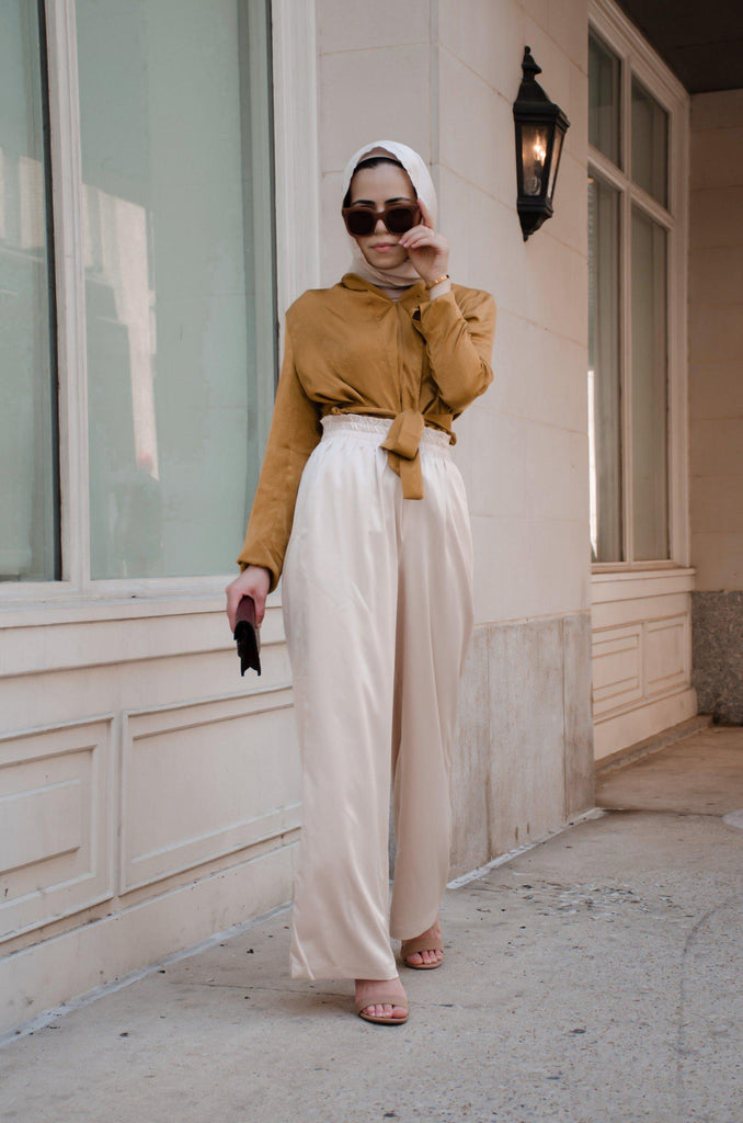 Serina Wide Leg Pants - Beige-Niswa Fashion