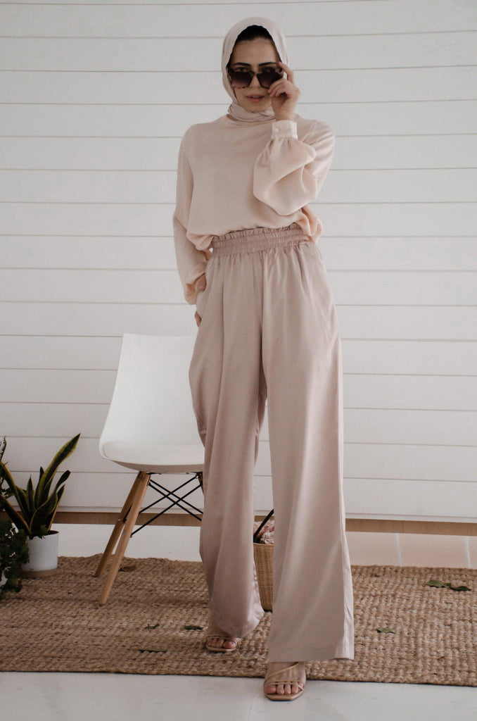 Serina Wide Leg Pants - Taupe-Niswa Fashion