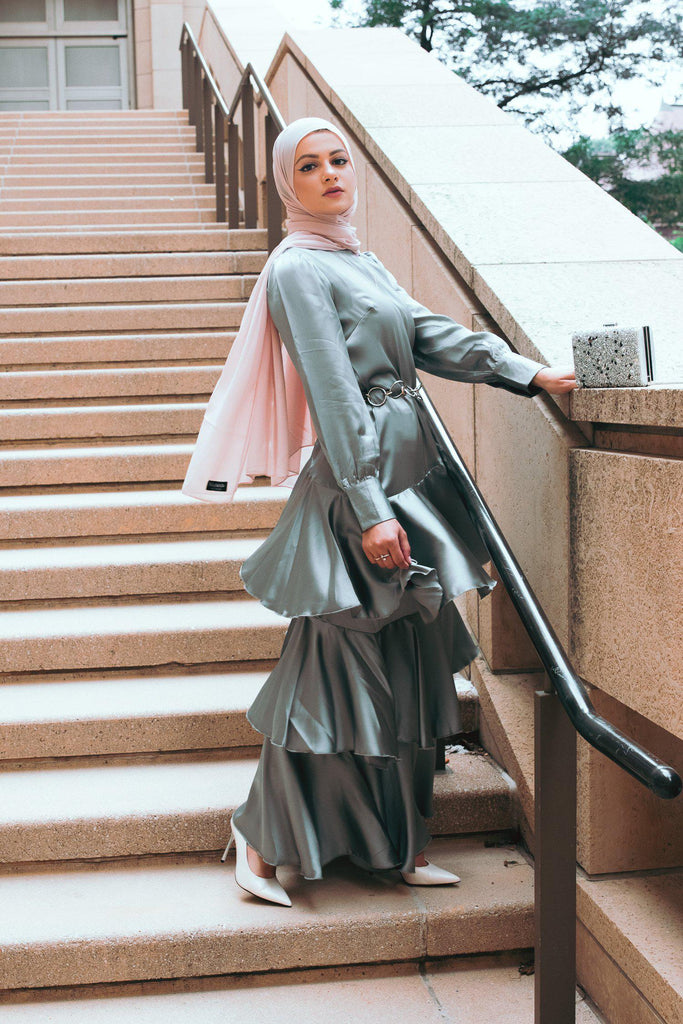 Seville Layered Satin Gown - Pale Jade-Niswa Fashion