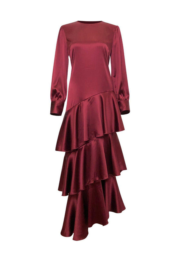 Seville Layered Satin Gown - Scarlet Ruby-Niswa Fashion