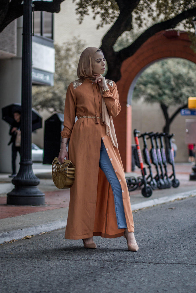 The Diana Abaya - Terracotta-Niswa Fashion