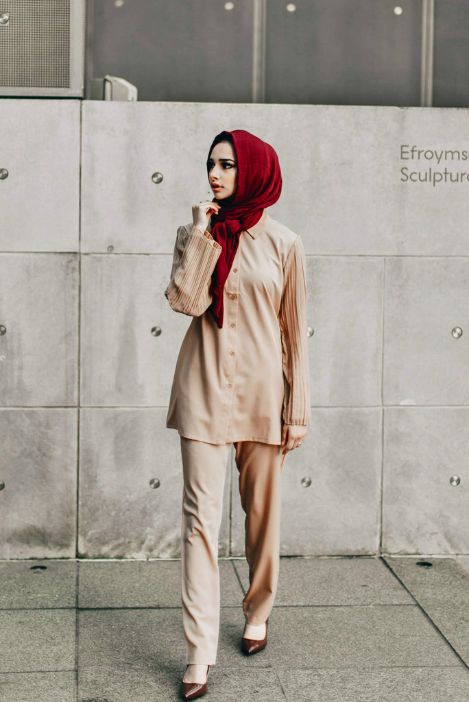 The Oxford Dress Set - Almond Breeze SALE-Niswa Fashion