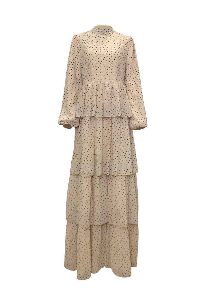 Tiered Polka Dot Maxi Dress - Sand Dunes-Niswa Fashion