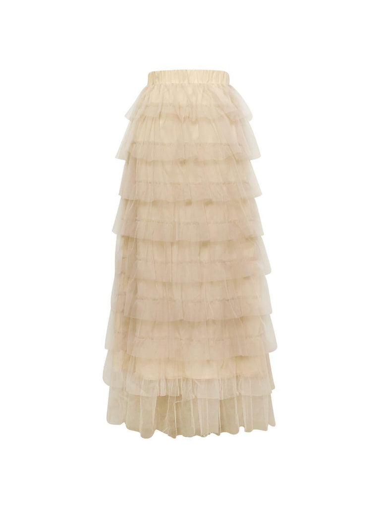 Toulon Tulle Maxi Skirt - Creme-Niswa Fashion