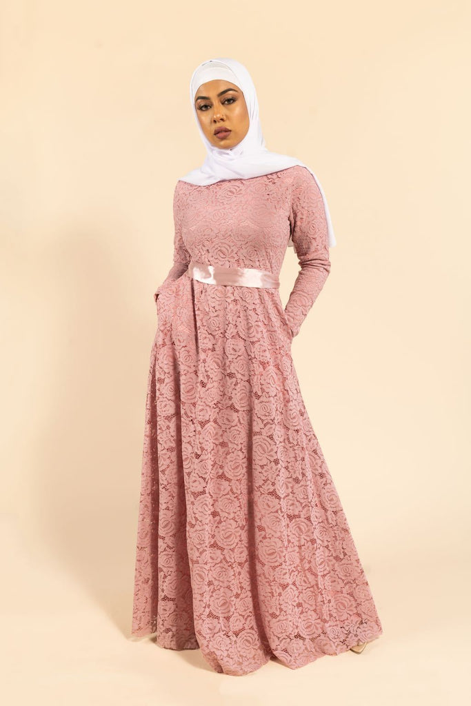 Venetian Maxi Gown - Pink Rose-Niswa Fashion
