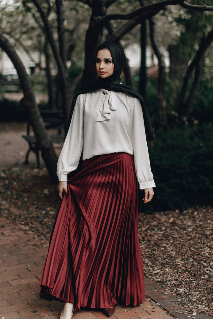 Vixen Pleated Metallic Skirt - MAHOGANY-Niswa Fashion