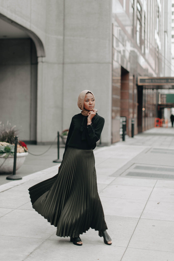 Vixen Pleated Metallic Skirt - OLIVE SALE-Niswa Fashion