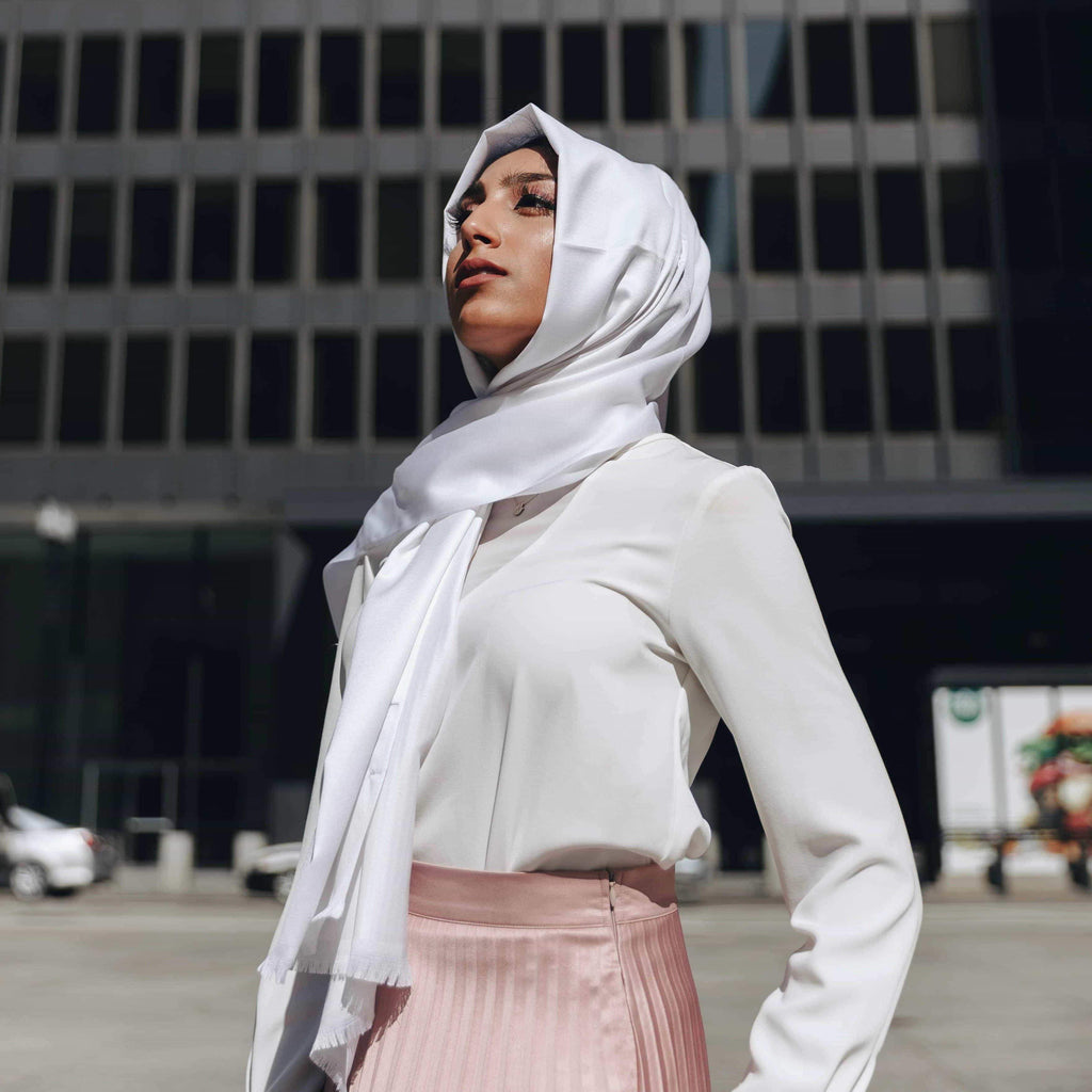 WHITE Satin-Niswa Fashion