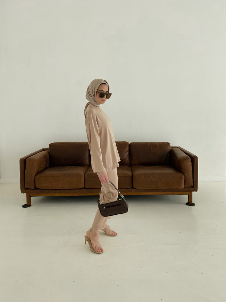 Zara Top & Trouser Set - Latte-Niswa Fashion
