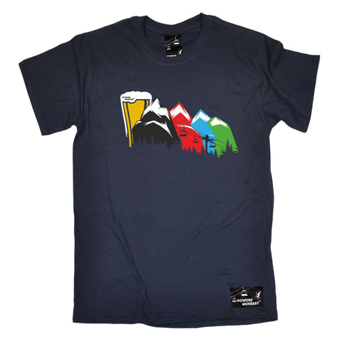 Powder Monkeez -  Men's Ski Lift To Beer Mountain T-SHIRT Funny