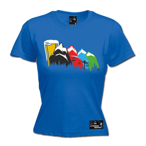 Powder Monkeez - Women's Ski Lift To Beer Mountain - FITTED TEE Funny Birthday Casual Christmas T-Shirt