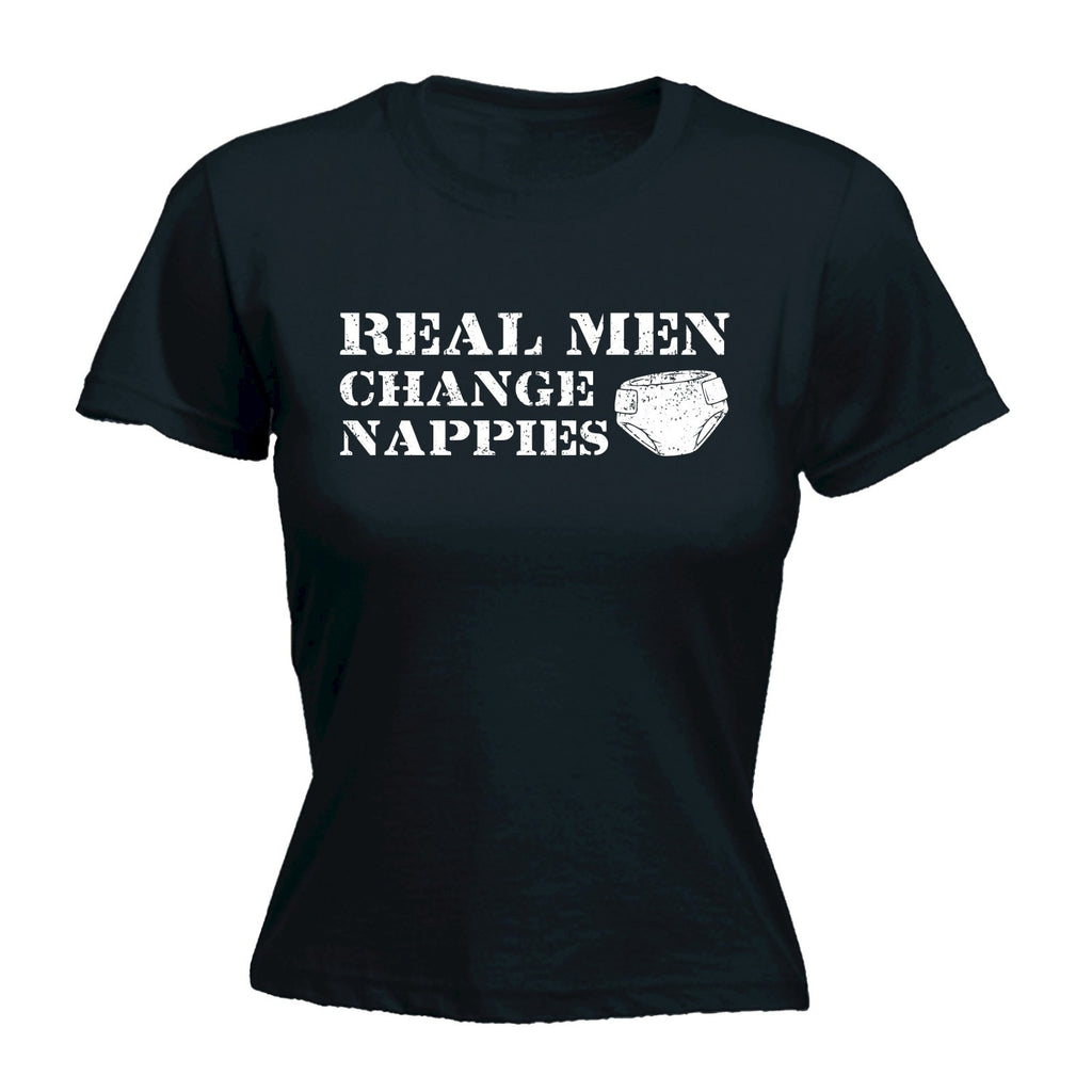 REAL MEN CHANGE NAPPIES - WOMEN'S FITTED T-SHIRT