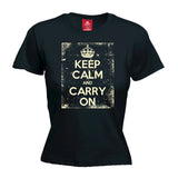 Official Keep Calm And Carry On ... Distressed - FITTED Women's T-SHIRT