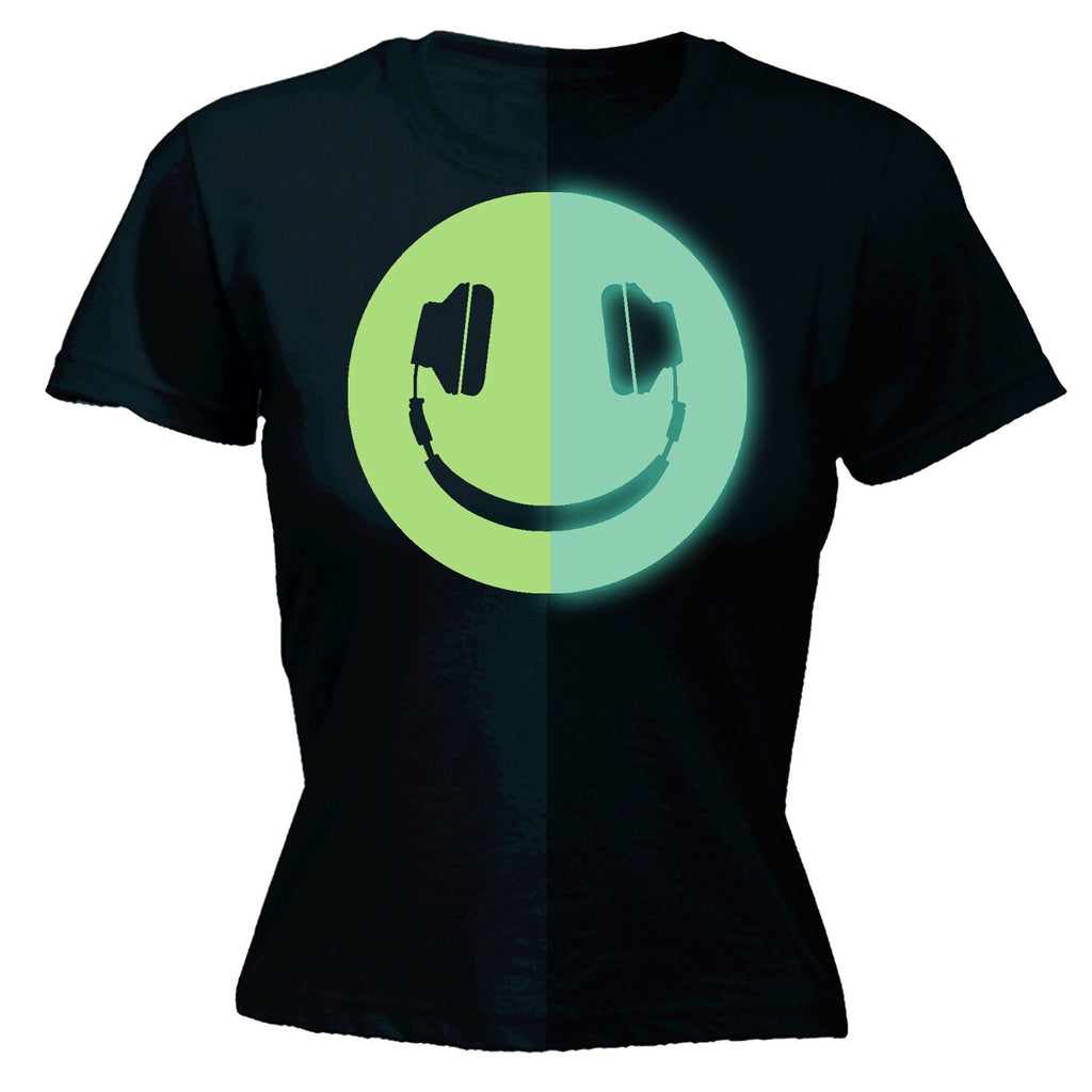 Glow In The Dark ... Headphone Smiley Design - FITTED T-SHIRT