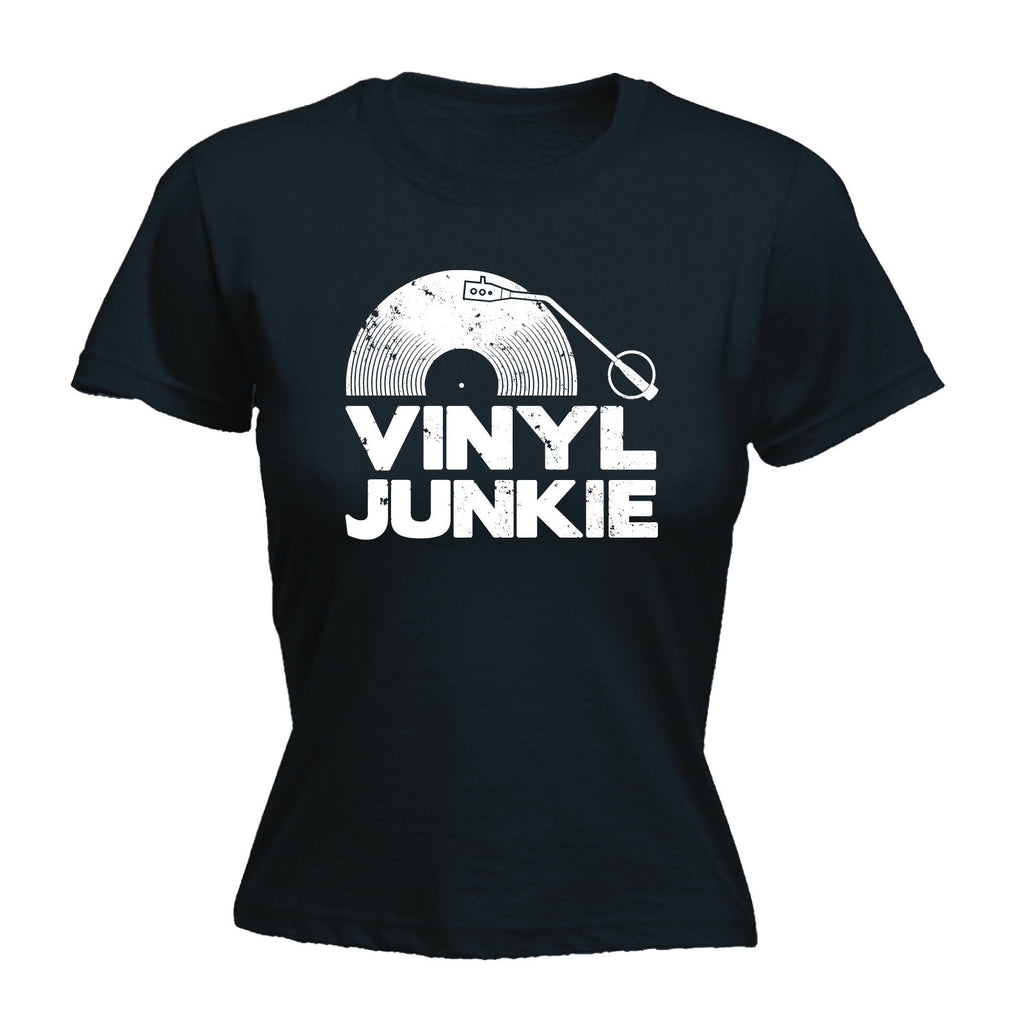 Women's Vinyl Junkie ... White Logo - FITTED T-SHIRT