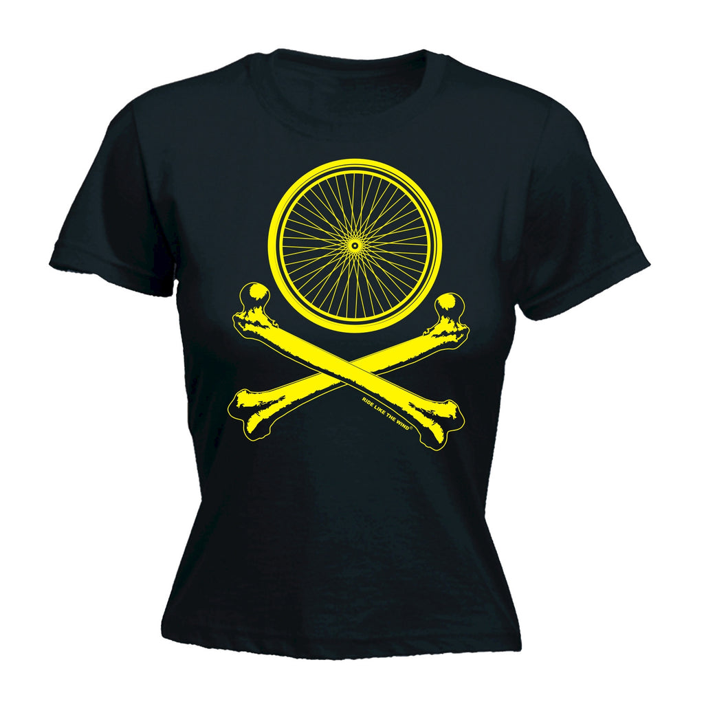 WHEELS AND CROSSBONES ... CYCLING DESIGN Fitted T-Shirt