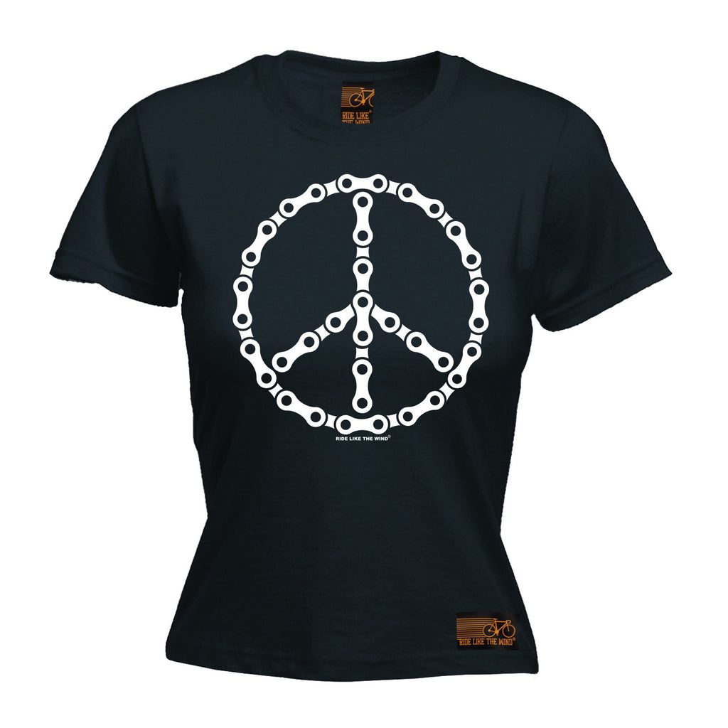 RLTW Premium -  Women's Peace Bicycle Chain Design - FITTED T-SHIRT