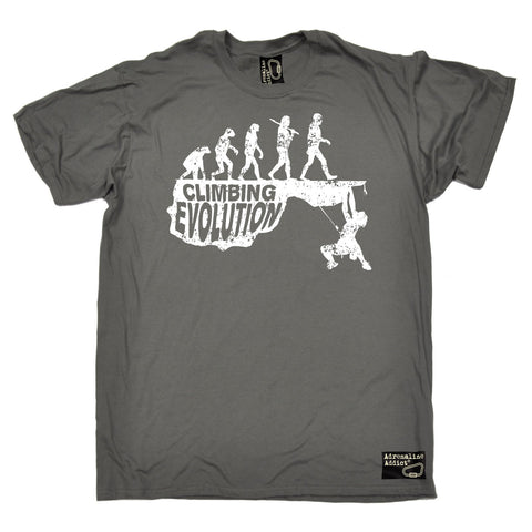 Adrenaline Addict Premium Men's Climbing Evolution T-SHIRT - funny slogan tee