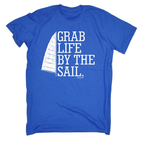 Ocean Bound Men's GRAB LIFE BY THE SAIL ... SAILING DESIGN  LOOSE FIT T-SHIRT - funny slogan tee