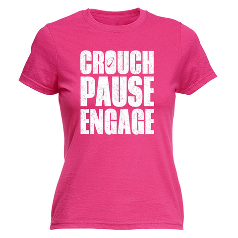 CROUCH PAUSE ENGAGE ... RUGBY DESIGN Fitted T-Shirt