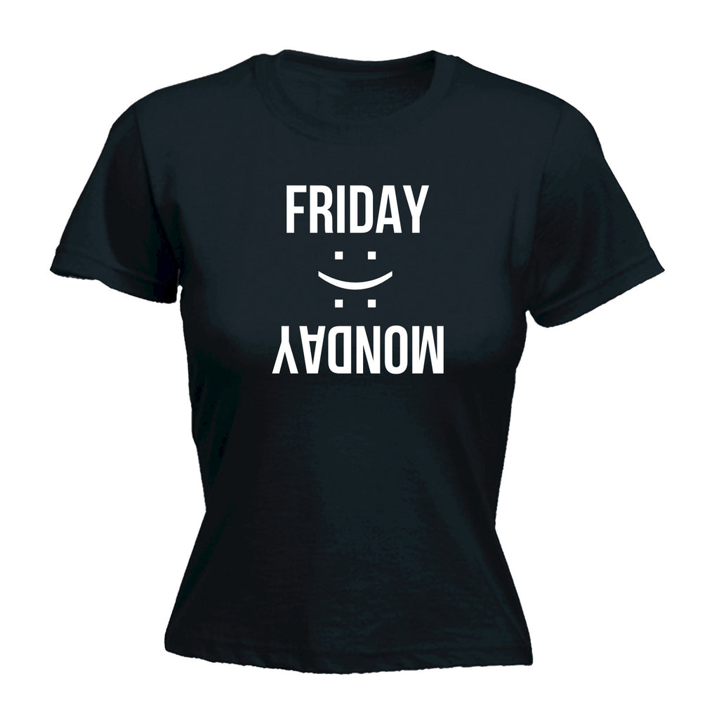 Women's Friday Happy Monday Sad ... Smiley Design - FITTED T-SHIRT