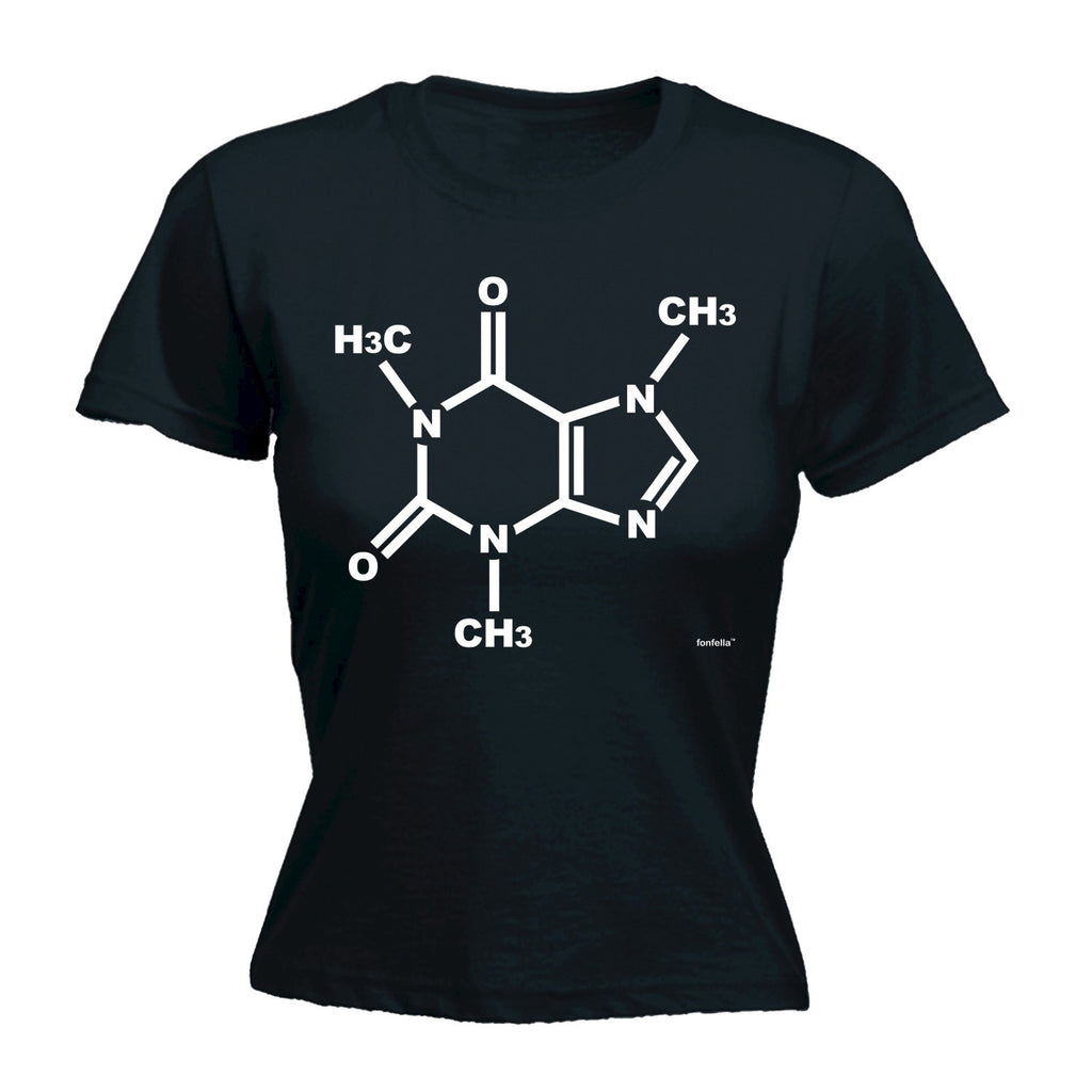 LADIES CAFFEINE GENETIC CHEMICAL STRUCTURE - NEW PREMIUM FITTED T-SHIRT (VARIOUS COLOURS) - S M L XL 2XL - by Slogans