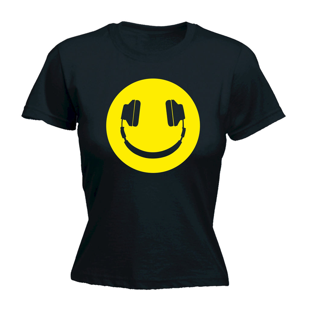 Women's Headphone Smiley Design - FITTED T-SHIRT