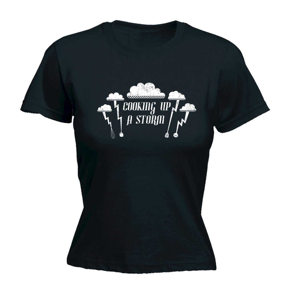 Women's COOKING UP A STORM ... LIGHTNING CLOUD DESIGN  - FITTED T-SHIRT