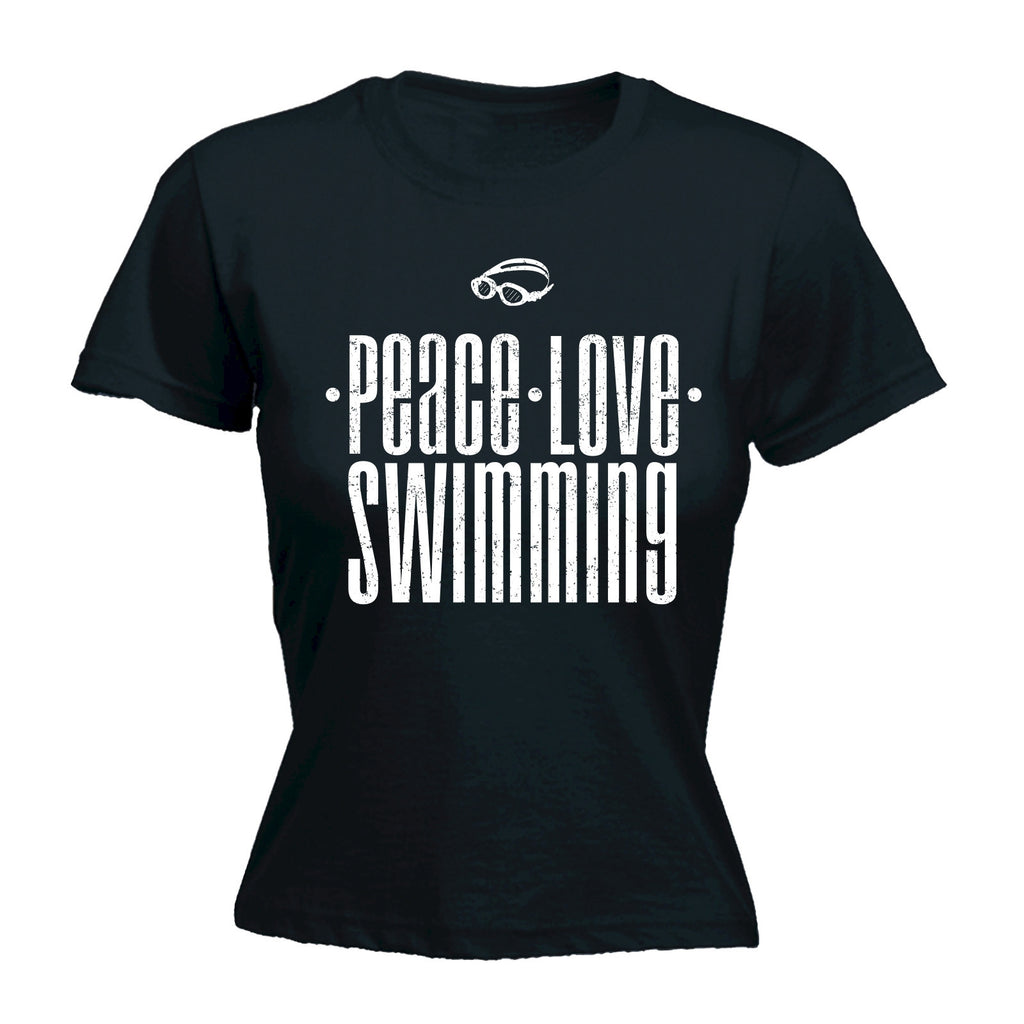 Women's PEACE LOVE SWIMMING  - FITTED T-SHIRT