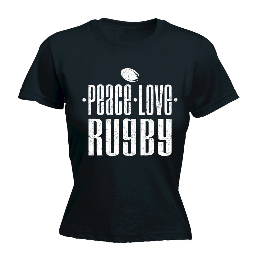 Women's PEACE LOVE RUGBY  - FITTED T-SHIRT