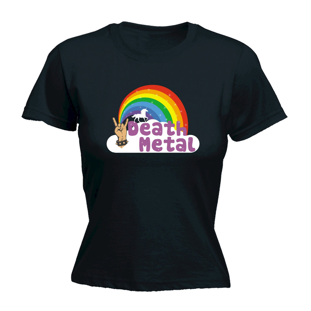 Death Metal ... Unicorn Rainbow Design - FITTED T-SHIRT