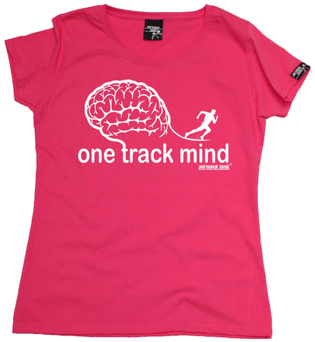 Women's Personal Best - One Track Mind Running Fitted T-Shirt Casual Funny Jogging Running Top