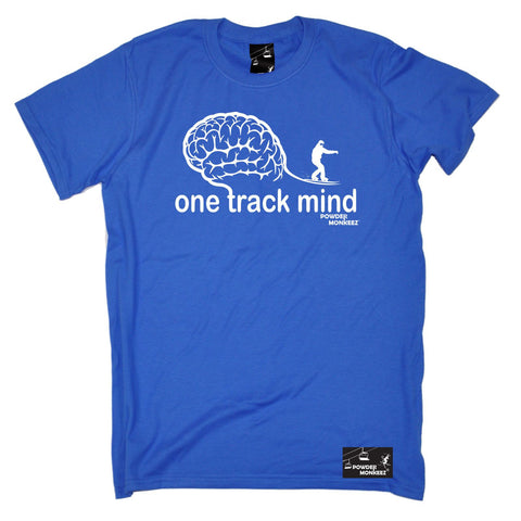 Powder Monkeez -  Men's One Track Mind Snowboard T-SHIRT Funny