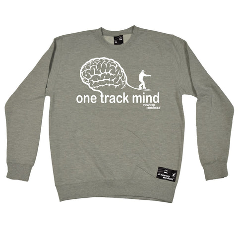 Powder Monkeez -   One Track Mind Snowboard - SWEATSHIRT Funny Birthday Casual Christmas Top