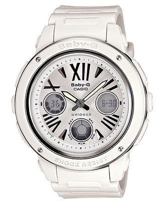 Casio Baby-G * BGA152-7B1 Large Face White & Silver Anadigi for Women