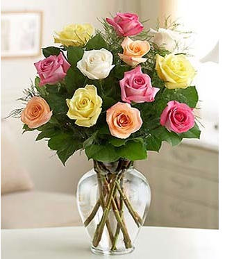 Long Stem Mixed Colors Rose Bouquet 12 pcs