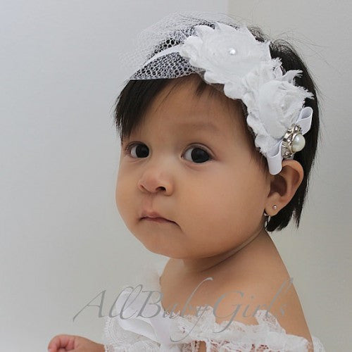 Modish White Flower Baby Headband with Pearls - Headbands - AllBabyGirls - 1