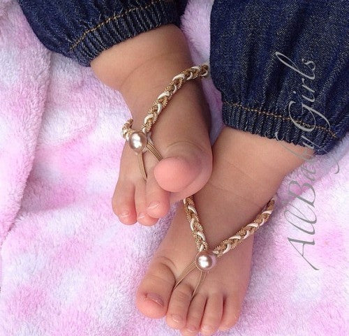 Captivating Braided Baby Barefoot Sandals with Pearls - Barefoot Sandals - AllBabyGirls - 1