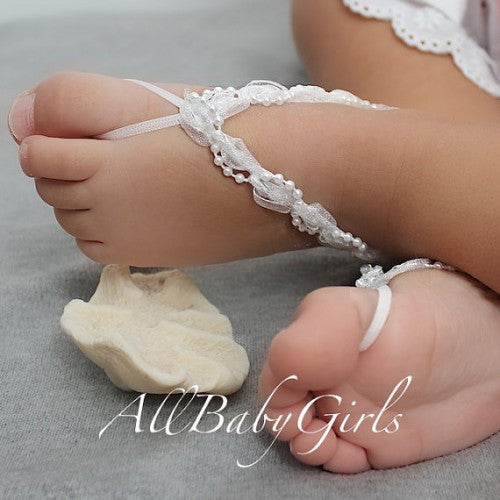 Glamour White Baby Barefoot Sandals with Pearls - Barefoot Sandals - AllBabyGirls - 1